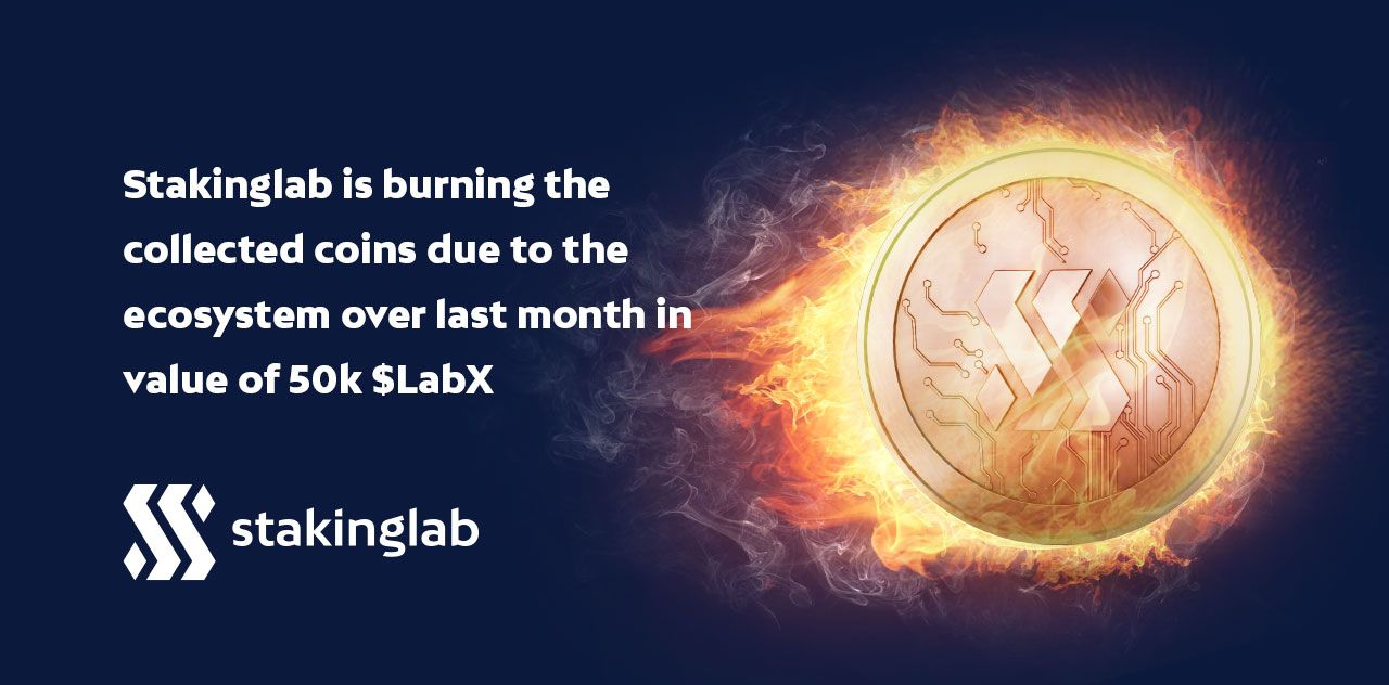 Burn of the collected coins due to the  ecosystem over last month in value of 50k $LabX